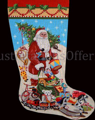 Rare Mary Kay Crowley Hand Painted Needlepoint Stocking Canvas 3003 Santa Toy Sack