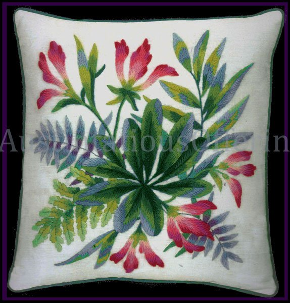 RARE MARCHIE EMERALD GREEN FERNS PINK FLORAL CREWEL EMBROIDERY PILLOW KIT