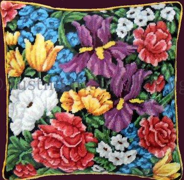 Rare Marchie Vibrant Spring Garden Needlepoint Kit Abundant Floral Irises Peonies Tulips More