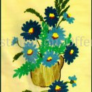 Vibrant Blue Gold Floral Crewel Embroidery Kit Suitable for Beginning Stitchers