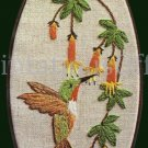 Rare June Cooper HummingBird Crewel Embriodery Kit With Frame Trumpet Vine
