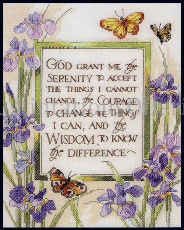 Rossi Inspirational Serenity Prayer Stamped Cross Stitch Kit Purple Spring Iris and Butterflies