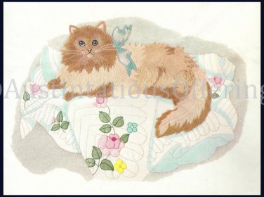 Rare Persian Cat Kit Quilted Quilted Crewel Embroidery Kit Long Hair Kitty