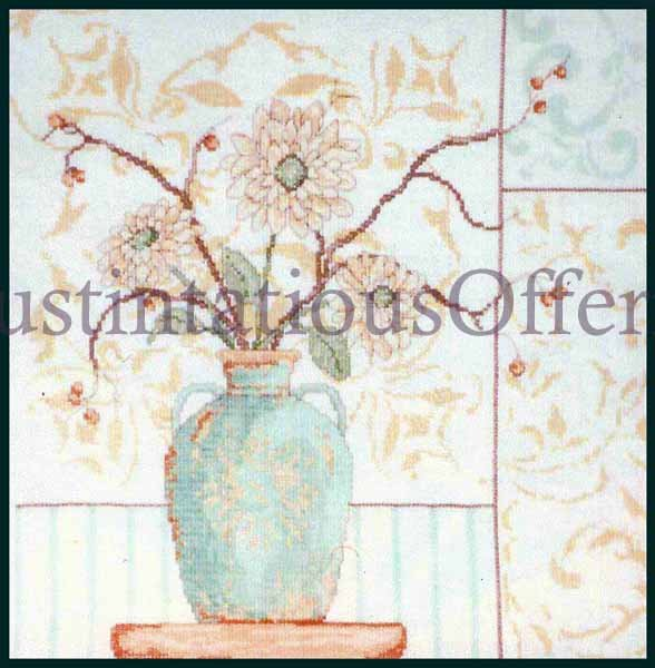 CONTEMPORARY PASTEL FLORAL  CROSS STITCH KIT MODERN FLOWER BOUQUET IN VASE