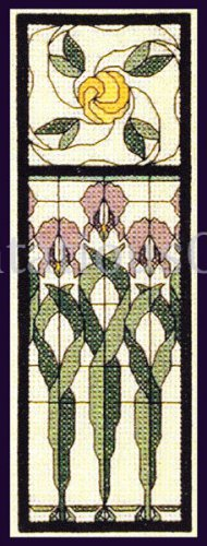 RARE CONNERS STAINED GLASS ART NOUVEAU CROSS STITCH KIT IRIS DECO