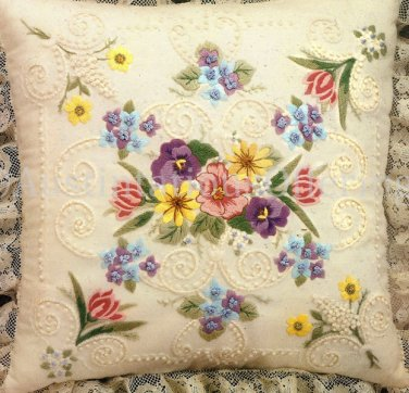 Rare Wildflower Candlewicking Crewel Embroidery Floral Pillow Kit  Pansies Tulips
