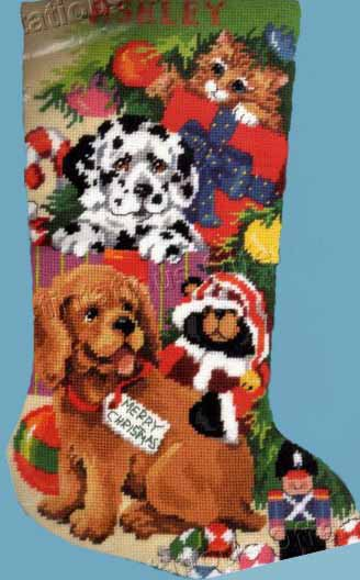 RARE GILLUM PUPPY DOG CAT UNDER THE TREE NEEDLEPOINT CHRISTMAS STOCKING KIT