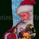 Hazel Lincoln Art Repro Santa Claus and Chickadee Needlepoiint Stocking kit Toy Bag