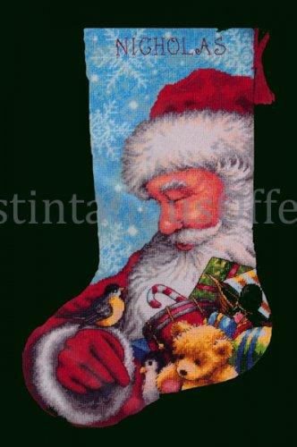 Hazel Lincoln Art Repro Santa Claus and Chickadee Needlepoiint Stocking kit Toy Bag