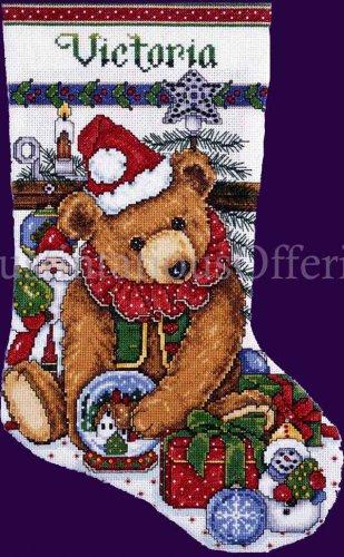 Elliott Victorian Christmas Bear Cross Stitch Christmas Stocking Kit Teddy and Toys