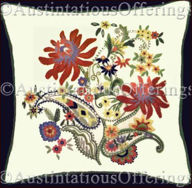 RARE GALLAGHER FLORAL CREWEL EMBROIDERY PILLOW KIT PAISLEY CHINTZ ELSA WILLIAMS