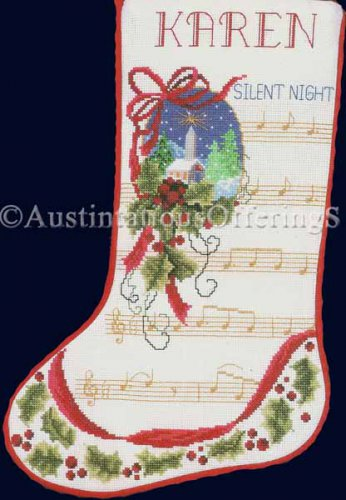 Rare Snowy Winter Church Cross Stitch Stocking Kit Silent Night Christmas Hymn