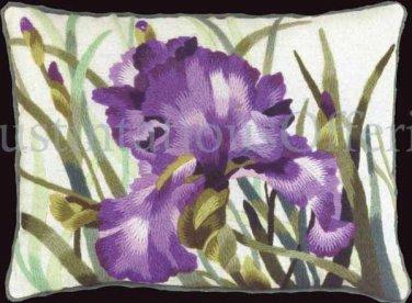 Rare Palmer Dramatic Deep Purple Iris Floral Crewel Embroidery Kit Williams