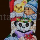 Rare Dede Ogden Hand Painted Needlepoint Stocking Canvas Christmas Teddy Bears