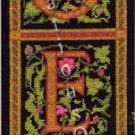 Rare Hrubec Vintage Pink Green on Black Noel Panel Bellpull Cross Stitch Kit Holiday Decor