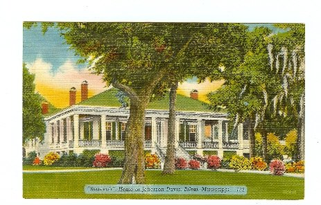 BEAUVIOR HOME JEFFERSON DAVIS BILOXI MS MISSISSIPPI postcard