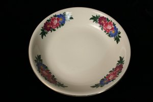 HOMER LAUGHLIN LARGE SERVING BOWL ROSE D50N8 FLOWERS 14in wide
