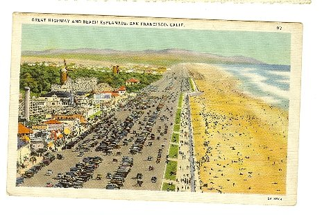 GREAT HIGHWAY BEACH  SAN FRANCISCO CA ROLLER COASTER California linen Postcard