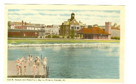 C N R STATION AND  WATERFRONT, BARRIE, ONTARIO , CANADA RAILROAD CITY VIEW