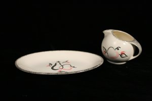 "Canonsburg Pottery ""Precious Pear"" Small Platter and Creamer"