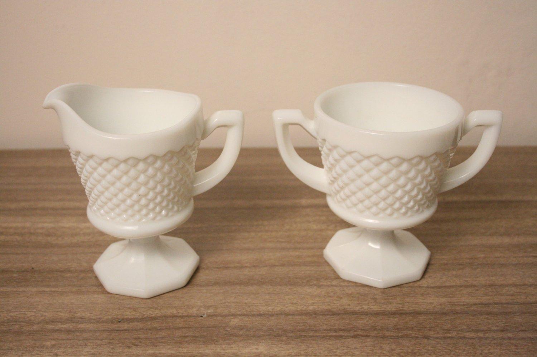 Milk Glass Westmoreland Sugar Bowl Creamer Set Vintage Chic
