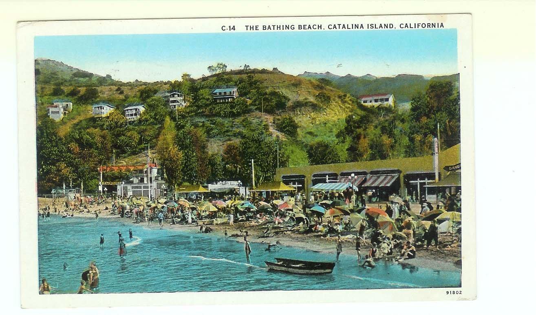 Bathing Beach Catalina Island CA California Avalon Bay Postcard 1931