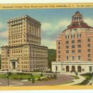 Buncombe County Courthouse postcard City Hall Asheville NC North Carolina linen