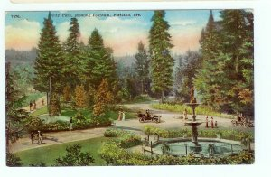 City Park Portland OR Oregon showing Fountain Model T car postcard