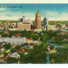 Skyline San Antonio Texas TX linen Postcard