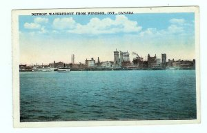 Detroit MI Michigan Waterfront 1920 from Windsor Ontario Canada Postcard Steamboats