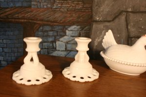 Milk Glass Open Lace Westmoreland Doric Pair Candle Holders Pedestal Base, Wedding Holiday Table