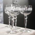 Glastonbury Lotus Wine champagne Glass Laurel Wreath Stem Cut Dotsl Set of 4 vintage Wedding Toast