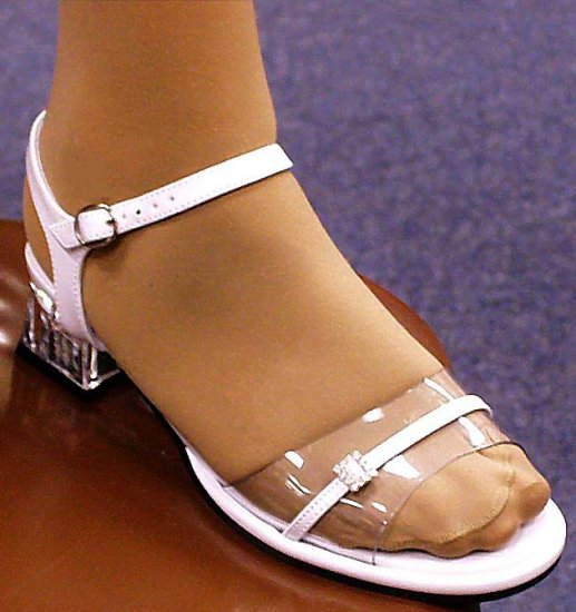 "NIB White, Clear Vinyl & Rhinestone Toddler Sandals 6.5"" Long Sz 10"