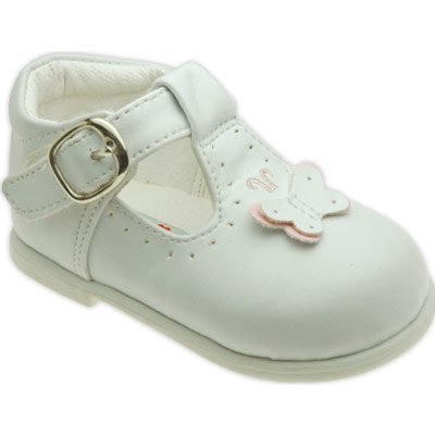 NEW White Wedding, Pageant Mary Jane Velcro Shoes D863 Sz 6