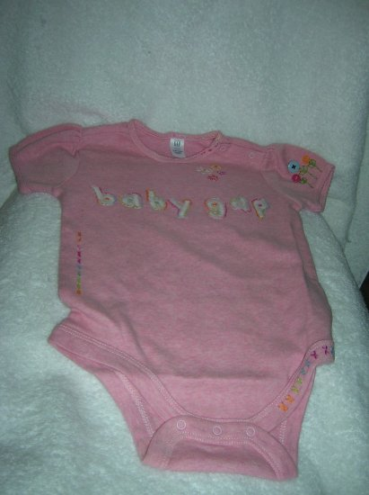 Gap Embroidered pink onesies heath/18-24 M