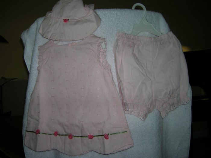 Pink 24 Months 3-piece Rosebud Dress Hat & Under Short