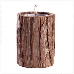 RUSTIC TREE BARK CANDLE  29552