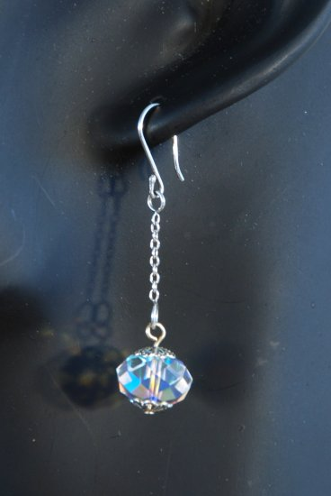 Designer bridal, crystal earrings jewelry, sterling silver Swarovski Crystal AB & Silver - EAR 0019