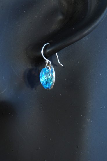 Designer bridal, crystal earrings jewelry, sterling silver Swarovski Aquamarine AB - EAR 0006