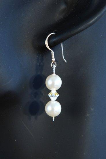 Designer bridal, crystal earrings jewelry, Swarovski Crystal Cream Pearls & Crystal AB - EAR 0011