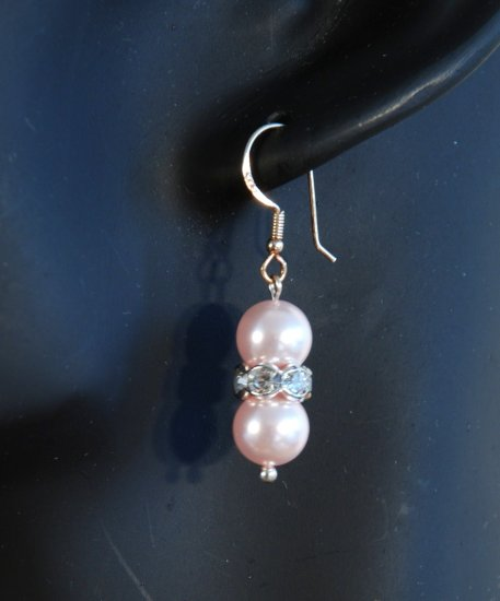 Designer bridal, crystal earrings jewelry, Swarovski Rosaline Pearls / Crystal / Silver - EAR 0014