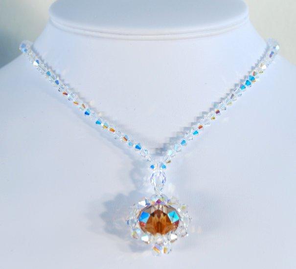 Designer fashion, bridal crystal necklace jewelry, Swarovski Crystal AB & Crystal Copper - NEC 0002