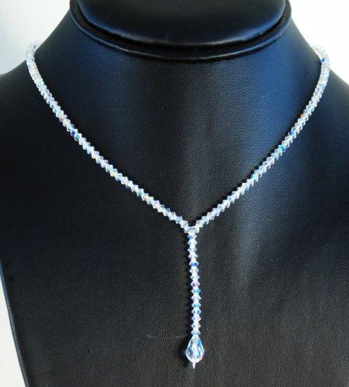 Designer fashion, bridal, prom crystal necklace jewelry, Swarovski Crystal AB - NEC 0003