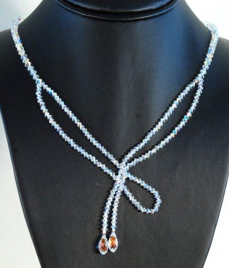 Designer fashion, bridal, prom crystal necklace jewelry, Swarovski Crystal AB  - NEC 0005
