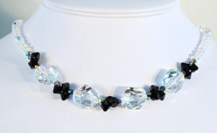 Designer fashion, bridal, crystal necklace jewelry, Swarovski Crystal AB / Jet / Jet AB - NEC 0006