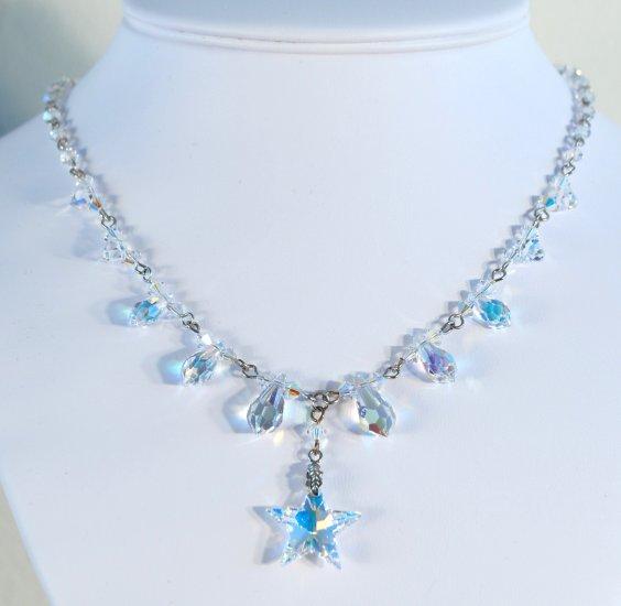 Designer fashion, bridal, prom crystal necklace jewelry, Swarovski Crystal AB - NEC 0010