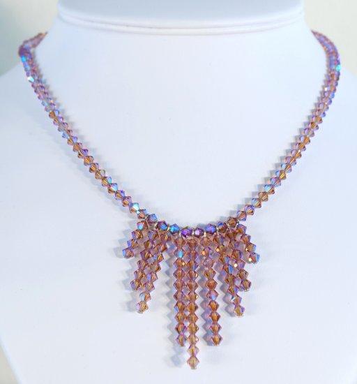 Designer fashion, bridal, crystal necklace jewelry, Swarovski Light Colourado Topaz AB 2X - NEC 0012
