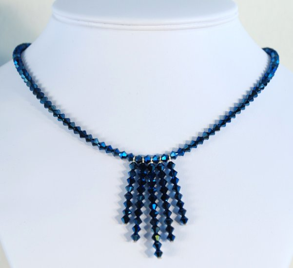 Designer fashion, bridal, crystal necklace jewelry, Swarovski Crystal Metallic Blue 2X - NEC 0013