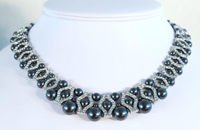 Designer bridal, crystal necklace jewelry, Swarovski Black Pearls / Crystal / Silver - NEC 0016