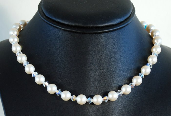 Designer fashion, bridal, crystal necklace jewelry, Swarovski Cream Pearls & Crystal AB - NEC 0020